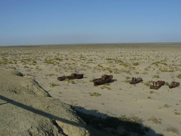 Vista desde la antigua orilla del Aral