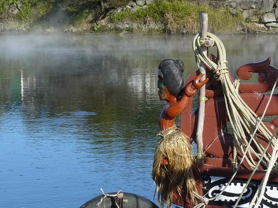 Detalle de canoa en Rotorua