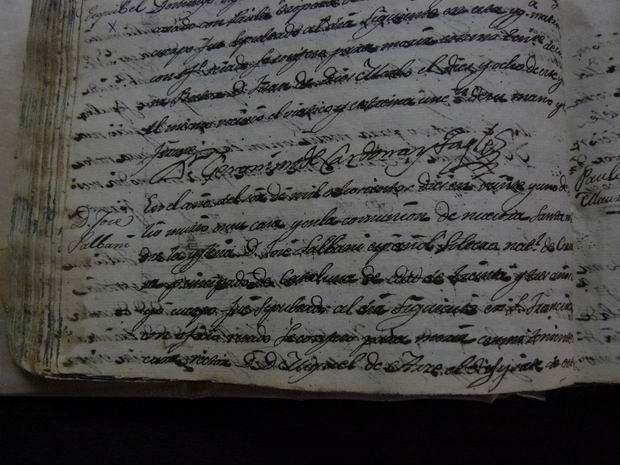 Detalle del acta de defunción de Salvany donde se lee su nombre