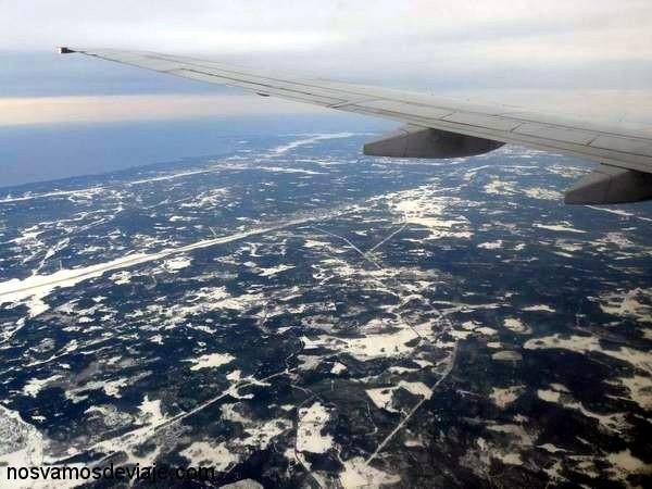 paisaje nevado desde el aire