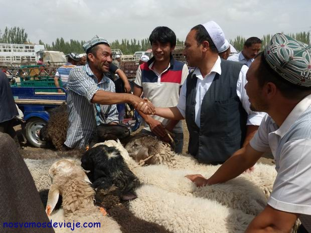Cerrando tratos comerciales en el mercado de animlaes en kashgar