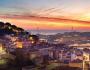 Puesta de sol en Lisboa sobre el Tajo